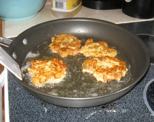 Cutlets frying up