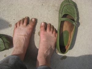 My feet, post planting.