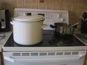 Giant pot on the stove